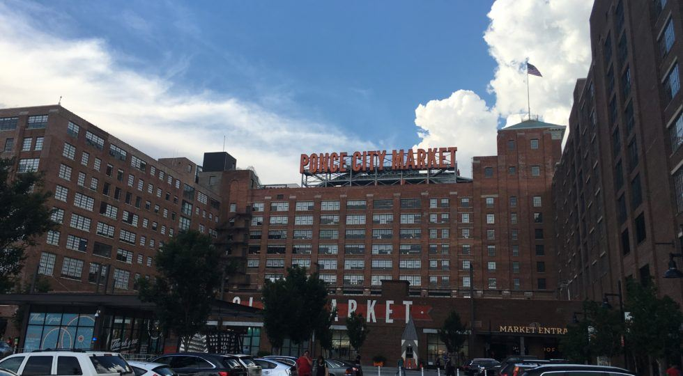 An image of the front of the Ponce Market building in Atlanta.